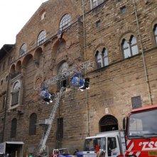 Inferno: uno sguardo all'esterno di Palazzo Vecchio allestito come Hollywood