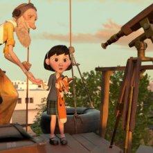 Il Piccolo Principe: l'aviatore, la bambina e il telescopio in una scena del film d'animazione
