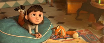 Il Piccolo Principe: la bambina con lo sguardo assorto in una scena del film d'animazione
