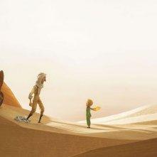 Il Piccolo Principe: l'aviatore e il piccolo principe catapultati nel deserto in una scena del film d'animazione