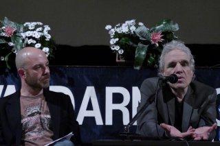 Abel Ferrara premiato al Valdarno Cinema Fedic insieme al direttore Simone Emiliani