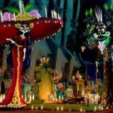 Il Libro della Vita: la Regina Morte con Xibalba in un momento del film animato