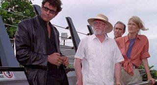 Jurassic Park: Malcolm, Hammond, la dottoressa Sattler e Gennaro in una scena