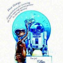 Steven Spielberg si congratula con George Lucas per il successo della riedizione di Star Wars che supera E.T. al boxoffice