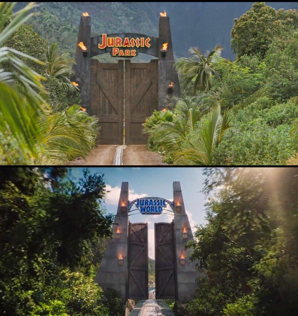 Jurassic Park e Jurassic World a confronto: il cancello del parco