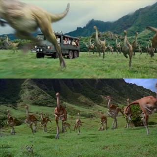 Jurassic Park e Jurassic World a confronto: la cavalcata dei Gallimimus