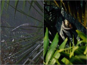 Jurassic Park e Jurassic World a confronto: occhi tra la vegetazione