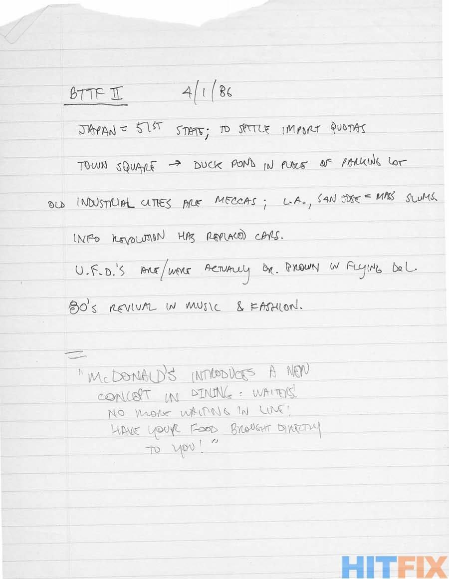 Ritorno al futuro: una pagina di appunti con possibili idee sul sequel