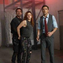 American Ultra: Kristen Stewart, Walton Goggins e Topher Grace in una scena del film