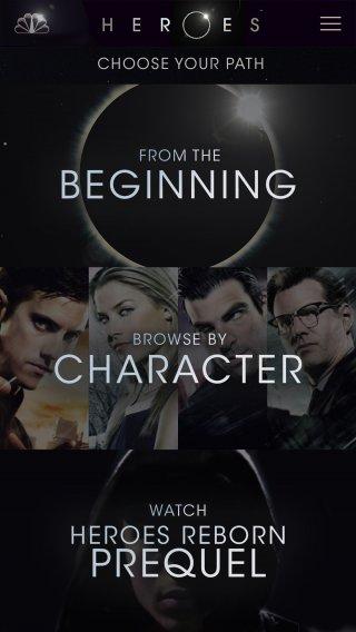 Heroes Reborn: uno screenshot della app dedicata allo show