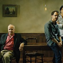 Lo scrittore Cormac McCarthy, autore del romanzo 'Non è un paese per vecchi', con Joel e Ethan Coen