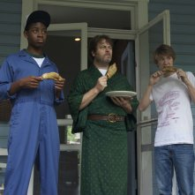 Me and Earl and the Dying Girl: Thomas Mann, Nick Offerman e RJ Cyler in una scena