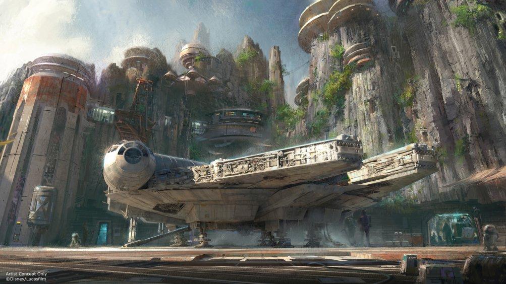 Star Wars Land: il Millenium Falcon in un concept art dell'attrazione