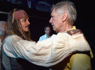 Johnny Depp con Harrison Ford al D23 di Anaheim, nel 2015