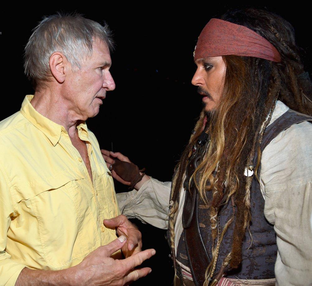 Johnny Depp con Harrison Ford al D23 di Anaheim, 2015
