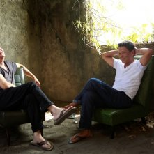 Afternoon: Tsai Ming-Liang e Lee Kang-Sheng sorridenti in un'immagine del film
