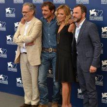 Venezia 2015: il regista Giuseppe M.. Gaudino, Massimiliano Gallo, Valeria Golino e Adriano Giannini al photocall di Per amor vostro