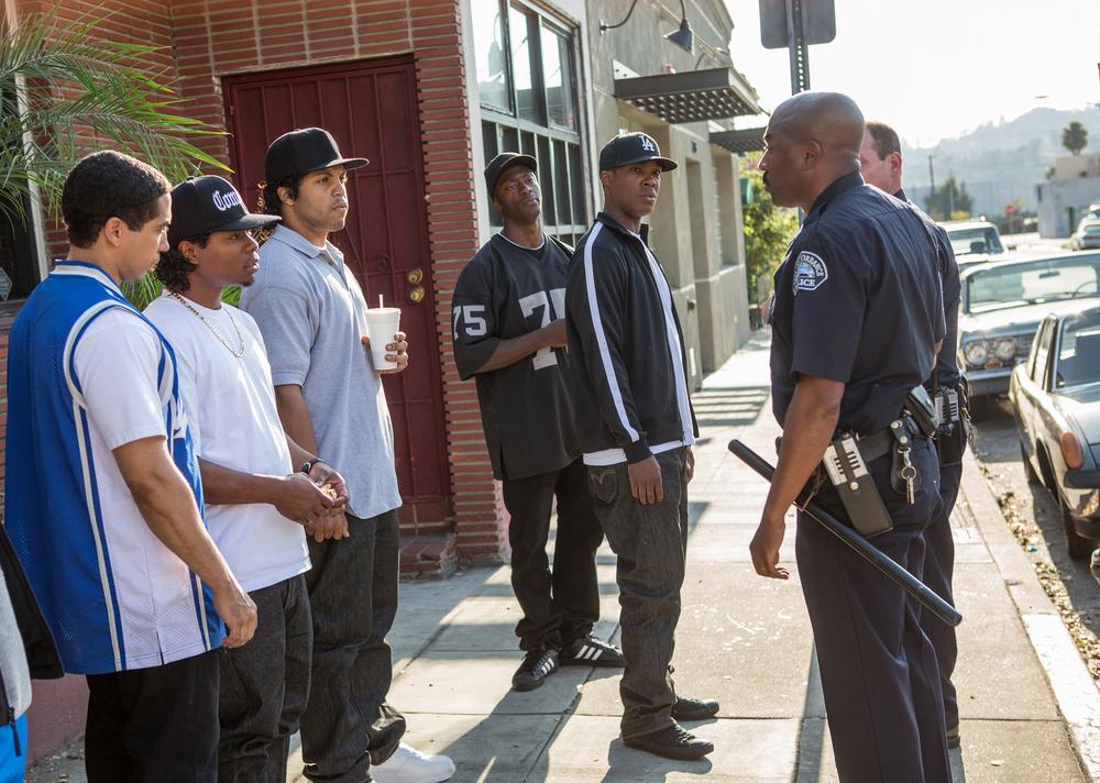 Straight Outta Compton: Neil Brown Jr., O'Shea Jackson Jr. e Corey Hawkins in un'immagine del film diretto da F. Gary Gray