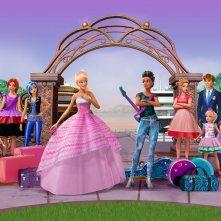 Barbie Principessa Rock: la Principessa Courtney ed Erika Juno in una scena del film animato