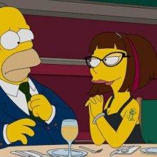 I Simpson: Homer e il personaggio doppiato da Lena Dunham a cena insieme in una foto di Every Man's Dream