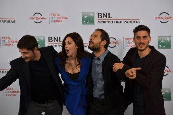 Roma 2015: Gabriele Mainetti, Ilenia Pastorelli, Luca Marinelli e Claudio Santamaria al photocall di Lo chiamavano Jeeg Robot
