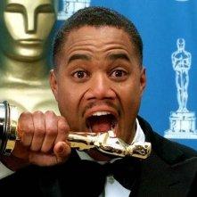 Cuba Gooding jr. con l'Oscar vinto per Jerry Maguire