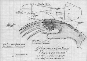 Il progetto del guanto di Freddy Kreger per Nightmare