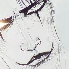 Il volto del Corvo realizzato da James O'Barr durante lo showcase di Lucca Comics