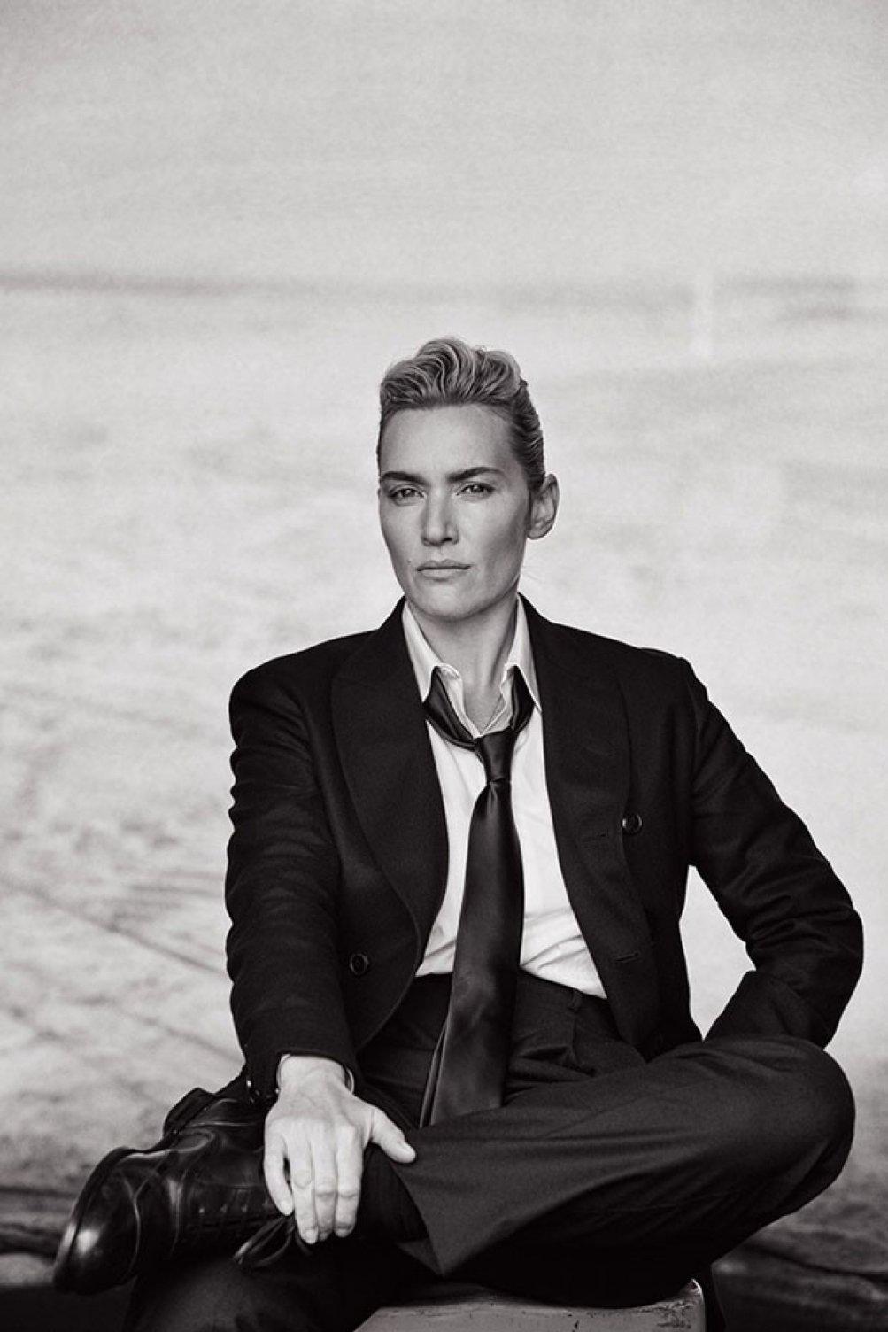 Kate Winslet fotografata vestita da uomo da Lindbergh per L'Uomo Vogue