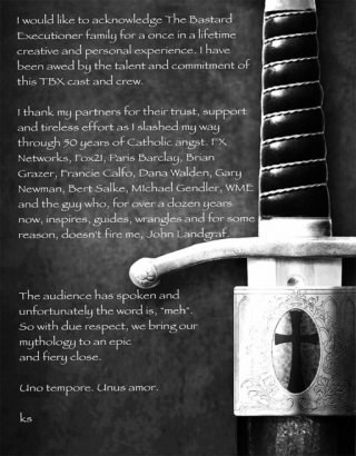 The Bastard Executioner: l'annuncio della cancellazione scritto da Kurt Sutter