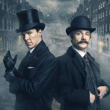 Sherlock: Martin Freeman e Benedict Cumberbatch in un'immagine promozionale dello speciale The Abominable Bride