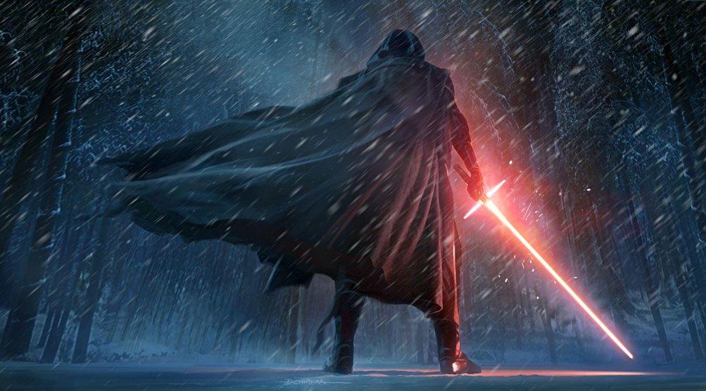 Star Wars: Il risveglio della forza, Kylo Ren di spalle in un'immagine tratta dal film