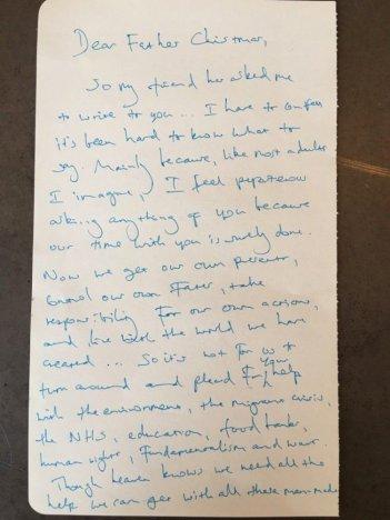 Benedict Cumberbatch, la lettera a Babbo Natale del 2015