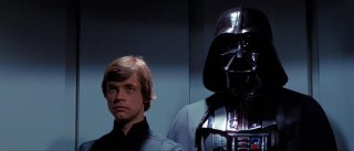 Mark Hamill e David Prowse in una scena de Il ritorno dello jedi
