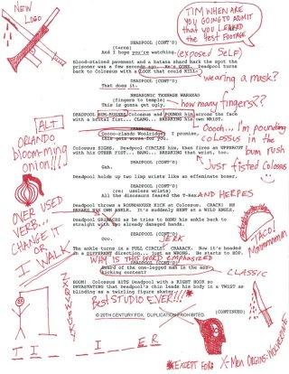 Deadpool: una pagina dello script con le note di Wade Wilson