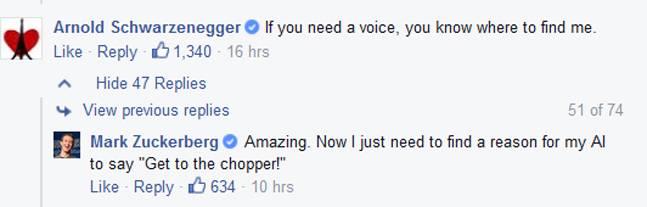 Arnold Schwarzenegger si offre per doppiare l'intelligenza artificiale di Mark Zuckerberg