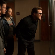Piccoli brividi: Jack Black, Ryan Lee, Dylan Minnette e Odeya Rush in una scena del film