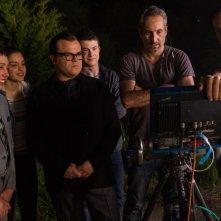 Piccoli brividi: Jack Black, Ryan Lee, Dylan Minnette e Odeya Rush sul set del film insieme al regista Rob Letterman