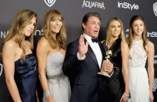 Sylvester Stallone con Jennifer Flavin e le loro figlie ai Golden Globes 2015