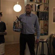 News From Planet Mars: Vincent Macaigne, Tom Rivoire, François Damiens e Veerle Baetens in una scena del film