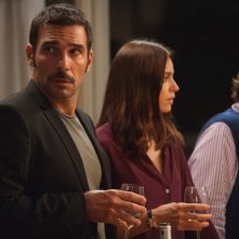 Perfetti sconosciuti: Edoardo Leo, Kasia Smutniak e Giuseppe Battiston in una scena del film
