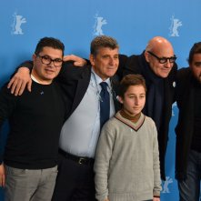 Berlino 2016: Samuele Puccillo, il regista Gianfranco Rosi, Pietro Bartolo durante il photocall di Fuocoammare