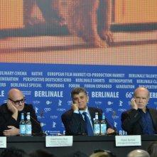 Berlino 2016: Gianfranco Rosi, Donatella Palermo, Pietro Bartolo, Serge Lalou alla conferenza di Fuocoammare