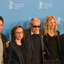 Berlino 2016: André Téchiné, Corentin Fila, Sandrine Kiberlain, Kacey Mottet Klein, Céline Sciamma al photocall di Being 17