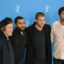Berlino 2016: Andrew Neel, Nick Jonas, Christine Vachon, David Hinojosa posano al photocall di Goat