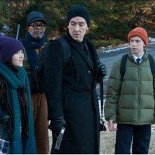 Cell: John Cusack, Samuel L. Jackson, Owen Teague e Isabelle Fuhrman in una scena del film