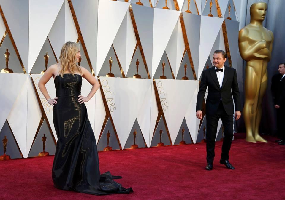 Kate Winslet  e Leonardo DiCaprio agli Academy Awards 2016