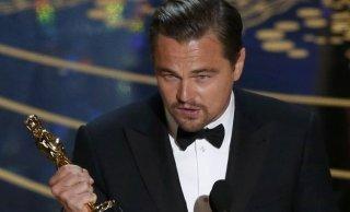 Leonardo DiCaprio con l'Oscar per Revenant, 2016