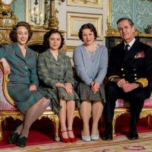 Una notte con la regina: Sarah Gadon, Bel Powley, Emily Watson e Rupert Everett in un'immagine promozionale