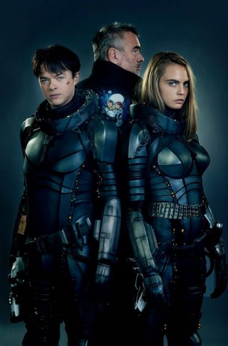 Valerian and the City of a Thousand Planets: Dane DeHaan, Luc Besson e Cara Delevingne in una foto promozionale